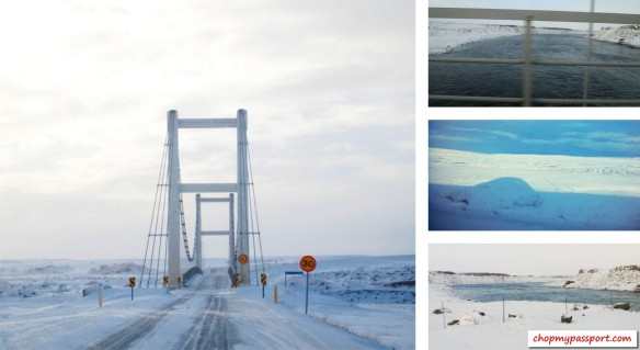 Iceland self drive Myvatn to Varmahlio suspension bridge vast barren land converging lane