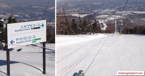 ski @ appi hayabusa black slope and yamabato green course