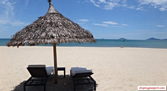 Hoi An sun soak on Cua Dai beach blue skies clear sea and white sands