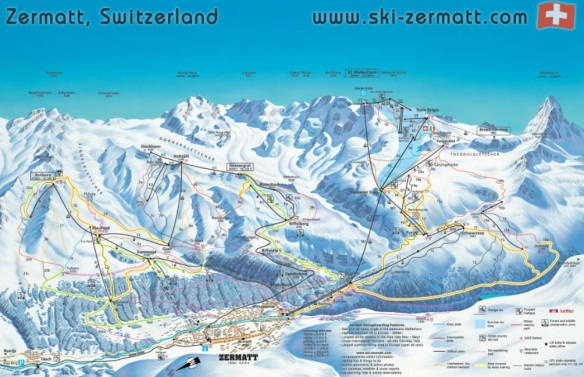 Zermatt Switzerland Ski Mountain Area Piste Map